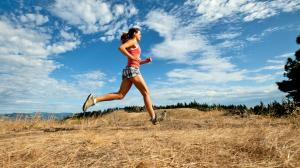 woman running on hot day