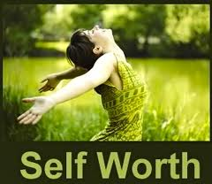 self worth woman green meadow