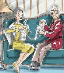 knitting elderly couple
