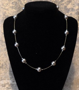 necklace illusion pearl silver 8mm